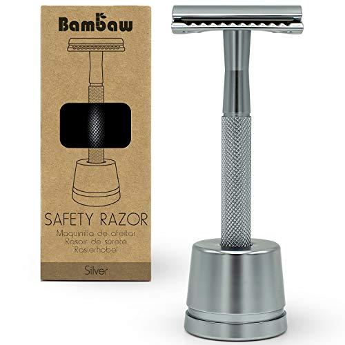 Metall Rasierer Klassisch mit Rasierhobel Halter | Naßrasierer Herren und Damen | Bodyrasierer für Männer und Frauen | Safety Rasierer Nachhaltig | DE Safety Razor | Zero Waste | Bambaw