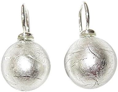 Pendientes de cristal de Murano de plata de oro blanco con incorporado y plateados y diseo Servicio