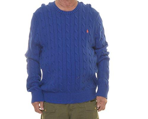 Polo Ralph Lauren Men's Orange Pony Cable Knit Crewneck Sweater Blue (XL)