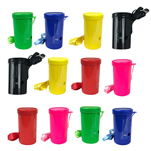 3 Inch Mini Air Horns - Pack of 12 Blow Horns - Mini Air Blasters - Blow Horn Noisemakers for Parties or Events - Mini Air Horn Whistles for Kids - Party Favor Noise Makers for Toddlers Boys, Girls