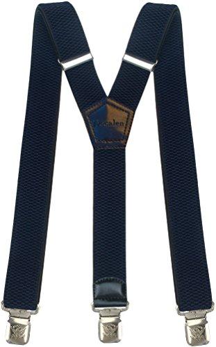 Tirantes Hombre Elásticos Ancho 40 mm con clips extra fuerte totalmente adjustable todos los colores (Azul marino)