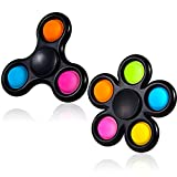 GOHEYI Pop Fidget Spinners Toys, Push Popper Bubble Spinner 2 Packs, Hand Spin Sensory Toy, Bulk Pack-Stress Relief for Kids ADHD Anxiety (Black)