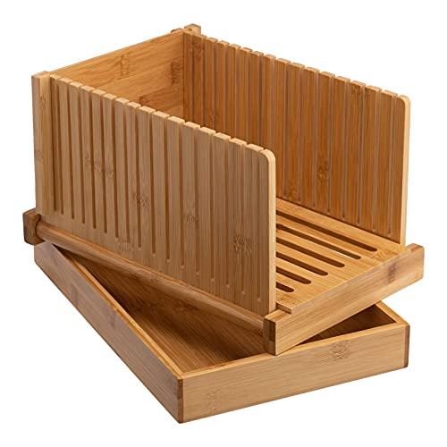 Cortador de pan de bambú con bandeja para migas, plegable, ajuste el grosor del pan casero, adecuado para pan, pasteles y bagels, natural 32 x 22 x 4,6 cm (plano)