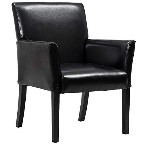 Giantex Leather Reception Guest Chairs Set Office Executive Side Chair Padded Seat Ergonomic Mid-Back Meeting Waiting Room Conference Office Guest Chairs w/Arms, Black (1 PC)