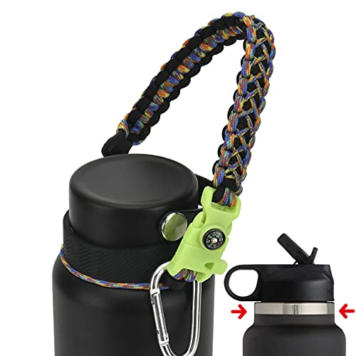 QeeCord Paracord Handle Compatible with Hydro Flask 2.0 Wide Mouth Water Bottle Carrier with New Ring and Carabiner, 12oz, 16oz,18oz, 32oz, 40oz, 64oz (Camo, 32 oz-40 oz (Wide Mouth))
