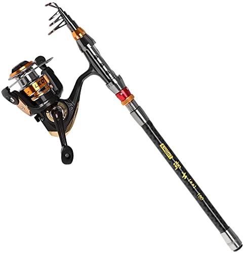 LLDKA Canne à pêche et Moulinet Canne à pêche télescopique en Fibre de avec Moulinet à Filer Combo Sacoche de Transport (Color : 1.8m)