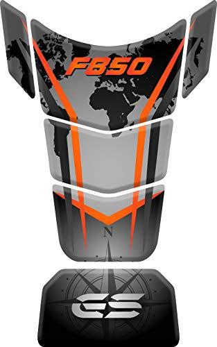 PARASERBATOIO ADESIVO, RESINATO EFFETTO 3D compatibile con B.M.W. F850, F 850 GS ADV, Adventure (Orange)