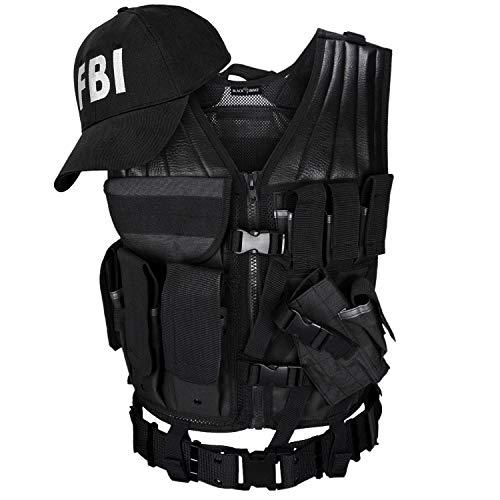 Black Snake® Herren Kostüm Einsatzkommando   USMC Einsatzweste + Baseball Cap   SWAT FBI Police Security - FBI