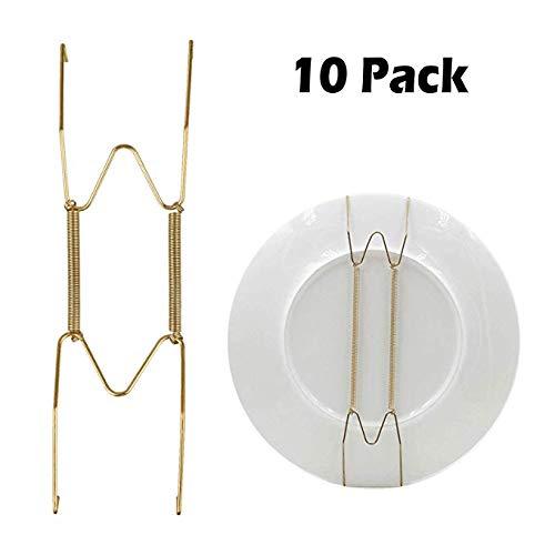Ruosaren 10 stks Gouden Plaat Hangers 8-inch Schotel Houder Lente Haak Decoratieve Plaat Houders voor Wandscherm