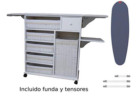 Meyvaser Mueble de Plancha Estoril Blanco Vintage + (Funda Elastica XXL Premiun Rayen)