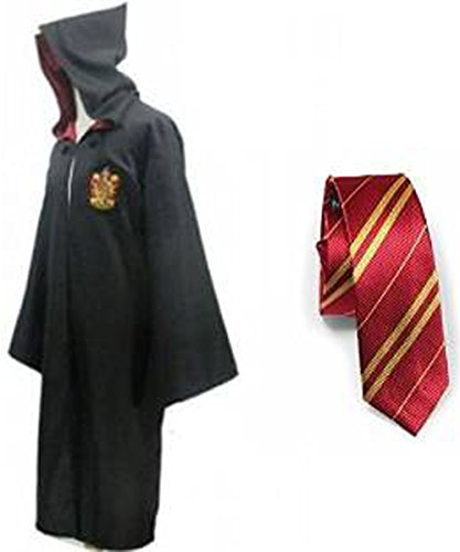 Harry Potter Kostüm Jünger Erwachsene Gryffindor Slytherin Ravenclaw Hufflepuff Adult Child Unisex Schule lange Umhang Mantel Robe(Gryffindor for Adult,X-Large)