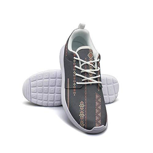 LOKIJM Boho Design Summer Fashion White Walking Shoes for Women Athletic Lightweight Best Running Shoes