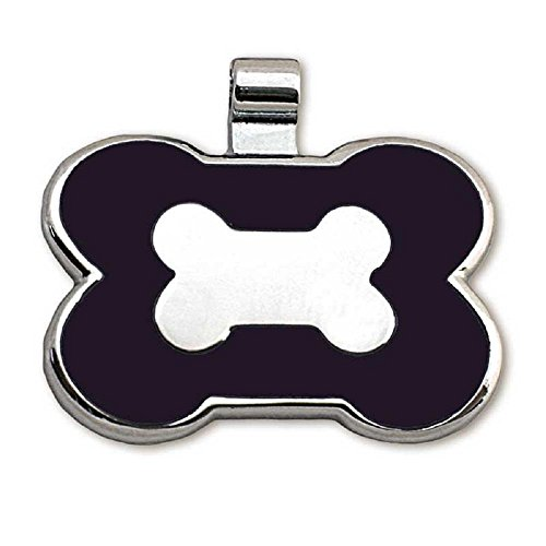 LuckyPet Pet ID Tag - Bone Shaped Jewelry Tag - Beautiful Enamel on Front - Custom Engraved on Back Side - Easy to Read Laser Engraving - Size: Large, Color: Black