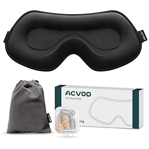 Verbesserte 3D Schlafmaske Damen und Herren, ACVOD Atmungsaktive Eisseiden Augenmaske, Nachtmaske 100% Lichtblockierende Seide Schlafbrille mit verstellbarem Band für Reisen/Nickerchen/Schlafen
