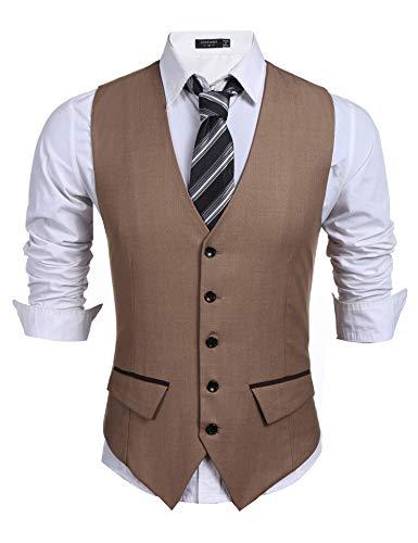 Coofandy Men's Casual Slim Fit Skinny Wedding Dress Vest Waistcoat,Khaki,X-Large