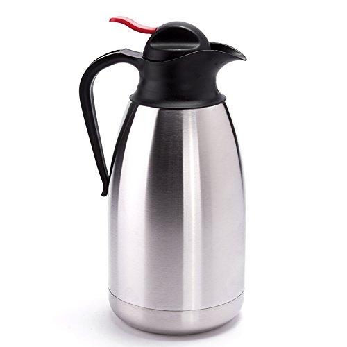 MSV Isolierkanne Thermoskanne für Tee und Kaffee 2 Liter mit Push Knopf