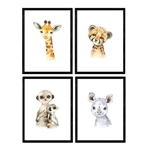 Pack de cuatro láminas con ilustraciones de animales. Posters con imágenes infantiles de animales. Tigre rinoceronte girafa y suricata. Tamaño A4 sin marco