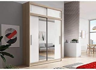 E-MEUBLES Armoire de Chambre avec 2 Portes coulissantes + avec Espace de Stockage supplémentarie + Miroir   Penderie (Trin...