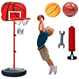 XRDSHY Canastas Baloncesto Infantiles Exterior Interior Altura Ajustable 120-200cm Balon Baloncesto Regalos Cumpleaños Infantil Regalos para Niños Juguetes con Pelota Blanda Y Inflador,Red-150cm