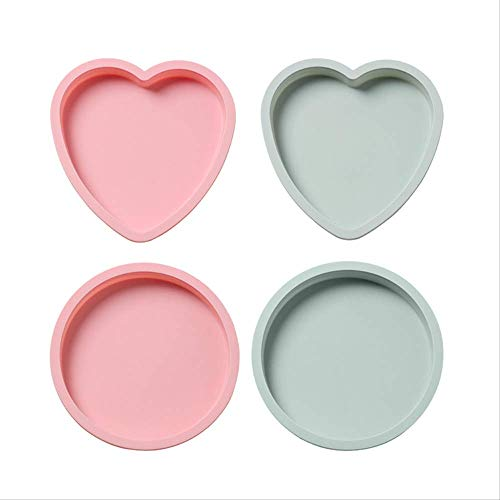 7.8 Inch Silicone Heart Shaped Rainbow Cake Baking Pans, Heart Cake Layer Pan Set, Non-stick Silicone Cake Bakeware Mold Set Of 4