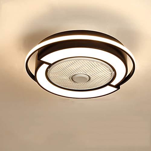 Ventiladores de techo modernos con luces, ventiladores de techo led para dormitorio, ventilador de techo invisible, lámpara, restaurante minimalista moderno, lámparas nórdicas silenciosas-Black||58CM