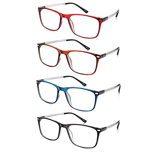 EFE Reading Glasses for Men and Women, 4 Pack Fashion Style Thin Eyewear...