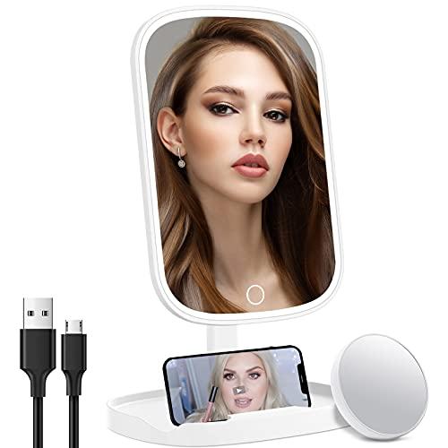 Espejo de Maquillaje con Luz, Recargable Espejo de Mesa con 10X Aumento, Espejo Cosmético con 3 Luces Regulable con Sensor Táctil, Carga USB Portátil Rotación Ajustable de 360 °, Regalo para Mujer