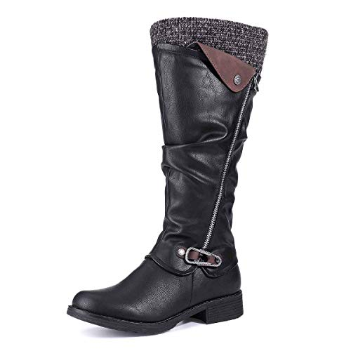 Botas Altas Invierno Mujer, Camfosy Botas de Nieve Caña Ancha Zapatos Mujer Cuña Planos Sintética Peluche Jinete Bajo Cómodos Peludas Calentitas 2020 Negro Gris Marrón