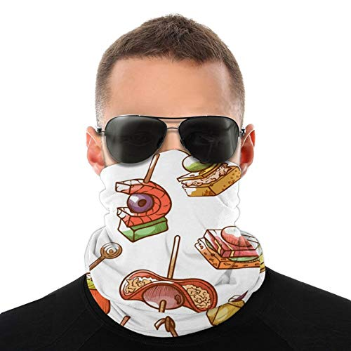 Canape Small Snack and Appetizer Face Cover for Men Women Neck Gaiter Headwear Sun Dust Wind Balaclava Outdoor Sports Face Scarf White