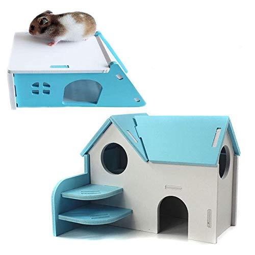 Beada Casa de Madera para HáMster Hideout Hut Ejercicio Natural Fun Nest Toy 2 Pack, Azul
