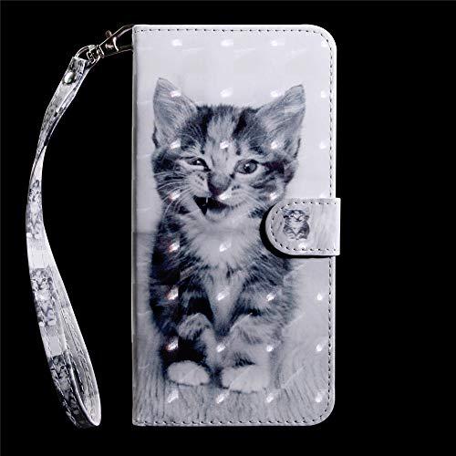 DodoBuy 3D Hülle für Huawei Y6 2019/Honor 8A, Flip PU Leder Schutzhülle Handy Tasche Brieftasche Wallet Case Cover Ständer mit Kartenfächer Trageschlaufe Magnetverschluss - Katze - 3