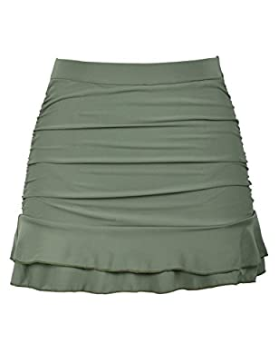 Hilor Women's Skirted Bikini Bottom High Waisted Shirred Swim Bottom Ruffle Swim Skirt Army Green Tag Size 8(fits 4)