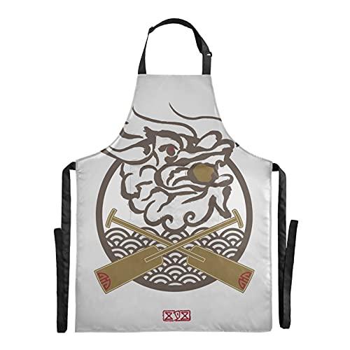 Delantal de jardín de Chef de Festival de barco de dragón de Asia oriental, delantal de barbacoa ajustable de 88x68 cm, delantal de gota de agua con bolsillos para hombres y mujeres