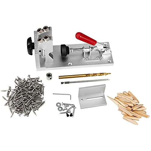 MATHOWAL Pocket Hole Fixture Kit, for DIY Woodworking Set Inclined Hole, with Vacuum Woodworking Punch Drilling Positioner Portable Device for Woodworking Drilling Holes Guide Wood Tools