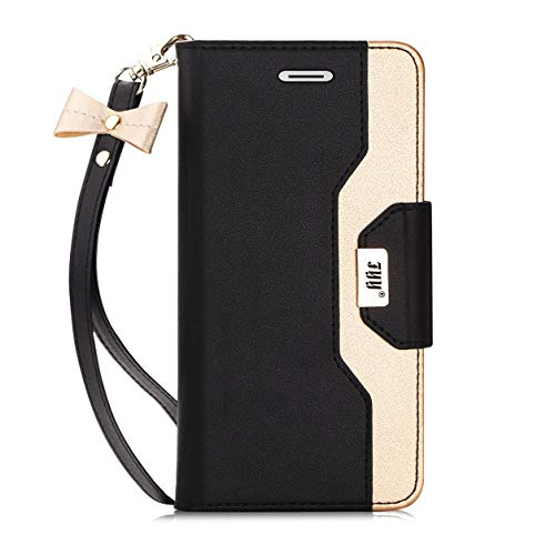FYY Case for iPhone SE, Premium PU Leather Wallet Case with Cosmetic Mirror and Bow-Knot Strap for Apple iPhone SE (1st gen - 2016) /5S/5 Black