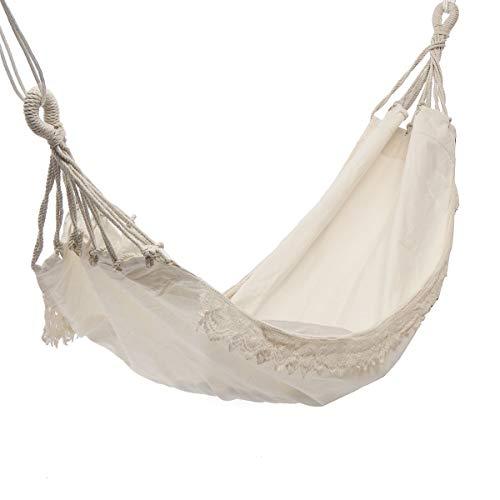 TRJGDCP Outdoor camping hangmat, schommelstoel, beweegbare hangstoel, zuiver wit, romantische kant voor reizen, wandelen, tuin, slapen, schommel haven