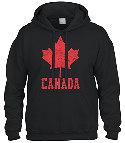 Cybertela Canadian Flag Canada Maple Leaf Sweatshirt Hoodie Hoody (Black, Large)