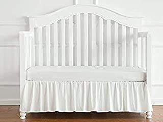 Cotton Metrics Linen 800TC 100% Pure Cotton Tailored Crib Bed Skirt Dust Ruffle 14 Inches Long for Baby Girls and Boys (Color - White)