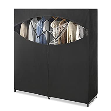 Whitmor Portable Wardrobe Clothes Storage Organizer Closet with Hanging Rack - Extra Wide -Black Color - No-tool Assembly - Extra Strong and Durable - 60 L x 19.5 W x 64