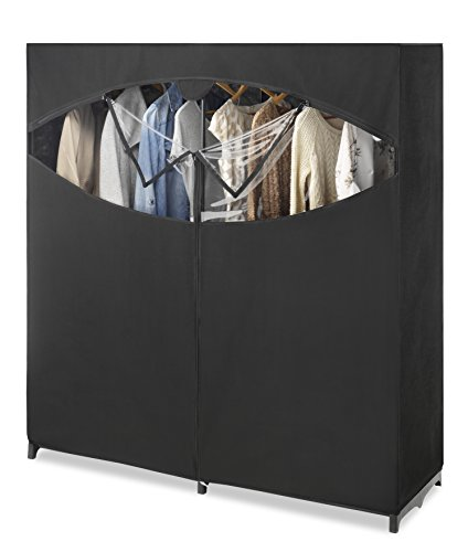 Whitmor Portable Wardrobe Clothes Storage Organizer Closet with Hanging Rack - Extra Wide -Black...