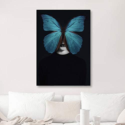 SADHAF Decoratie thuis, canvas, vlinder, groen/zwart/meisjes, Scandinavische stijl, bedrukt, op canvas 60x80cm (pas de cadre) A4