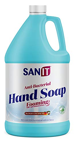 Sanit Antibacterial Foaming Hand Soap Refill - Advanced Formula with Aloe Vera and Moisturizers - All-Natural Moisturizing Hand Wash - Made in USA, Mango Coconut, 1 Gallon