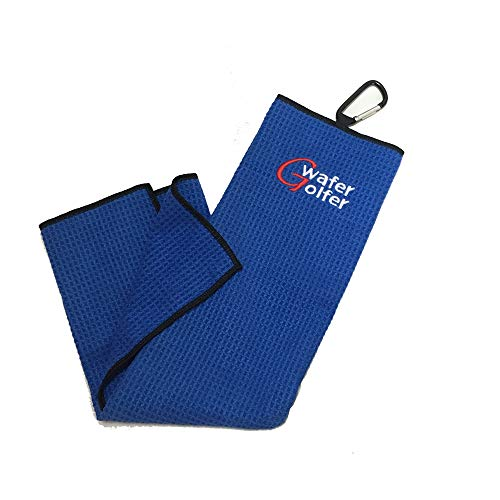"""Microfiber Waffle Golf Towel(16""""x 21"""") with Carabiner Club,Machine Washable Golf Accessories Light Weight & Quick Drying. Best for Cleaning All Types of Clubs, Irons & Drivers (Blue)"""
