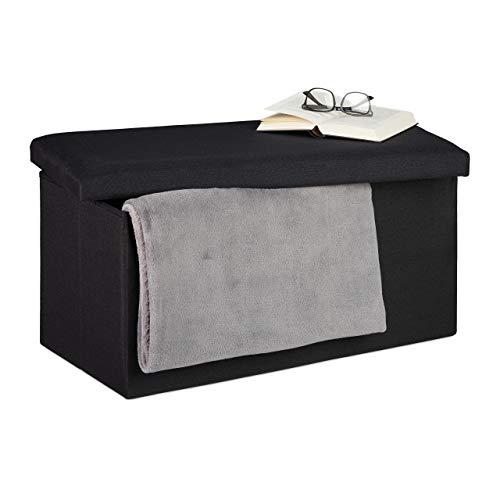 Relaxdays Sitzbank mit Stauraum, Leinen-Optik, gepolstert, Flur, Schlafzimmer, Truhenbank, HBT: 38x76,5x38,5 cm, schwarz