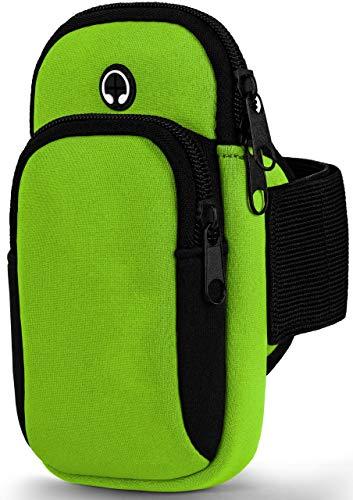 moex Sport-Armband kompatibel mit Motorola One Vision | Spritz-Wasserfest, 2 Reißverschlussfächer mit Kopfhöreröffnung + Verstellbarer Gurt, Grün