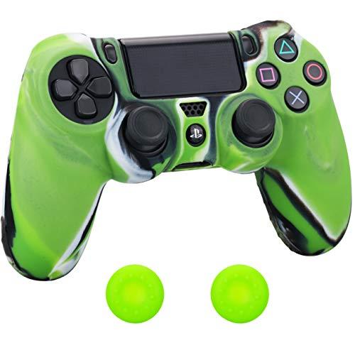 Pandaren Silikon hülle skin Schutzhülle für PS4 controller (grün schwarz weiß) x 1 + thumb grip aufsätze x 2