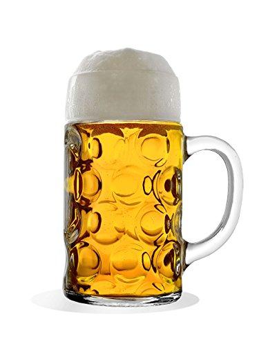 STÖLZLE OBERGLAS ISAR Maßkrug 1,0l l Original Biermaßkrug Oktoberfest I 2 Stück Bierkrug mit Henkel I Traditionelles Bierglas I spülmaschinenfest I hochwertige Bierkrüge