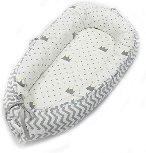 Babify Cuna Nido de Bebé, Algodón 100% Antialergenico - Color Blanco y Gris