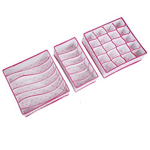 GXP 3 Unids Plegable Ropa Interior Caja De Almacenamiento Divisor Organizador Calcetines Contenedor De Armario (Rosa)