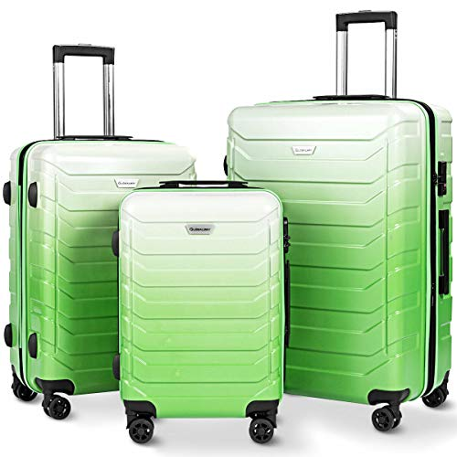 Goplus 3PCS Expandable Luggage Set, Durable Trolley Suitcases with TSA Lock, Spinner Wheels, 20' 24' 28' ABS + PC Lightweight Travel Suitcase (Green)